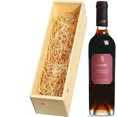 Wijnkist met Alvear Montilla-Moriles Pedro Ximénez Solera 375ml. 1927