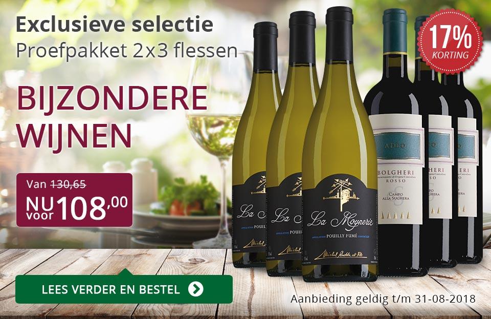 Proefpakket bijzondere wijnen augustus 2018 (108,00) - paars