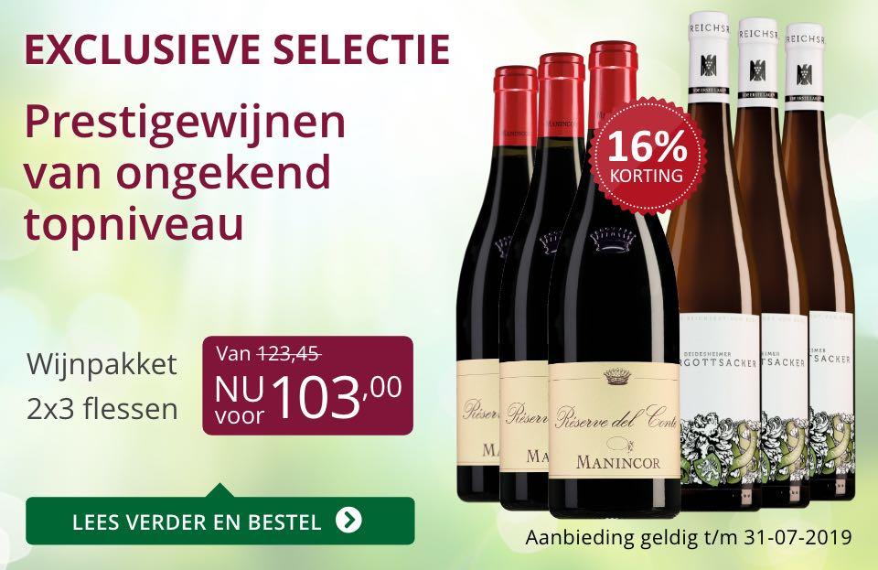 Wijnpakket bijzondere wijnen juli 2019 (103,00)- paars