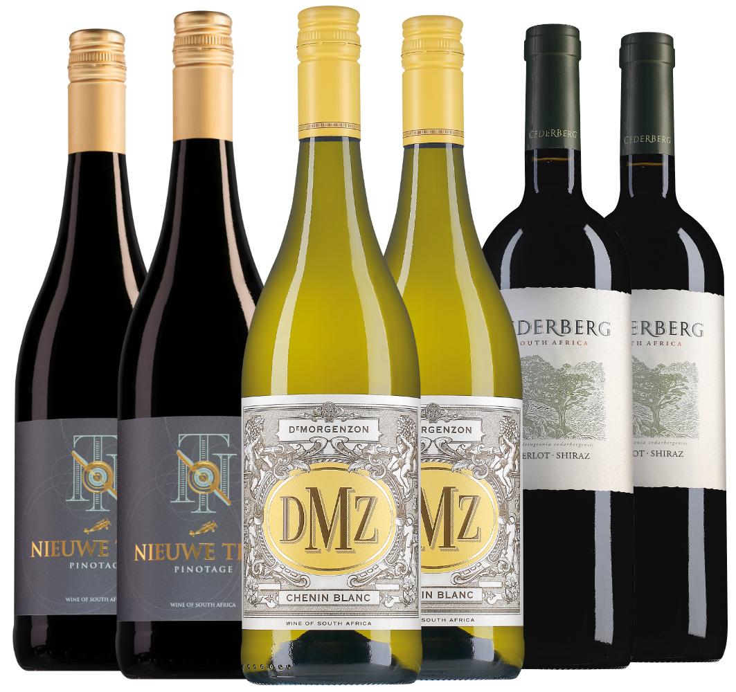 Wijnpakket Zuid-Afrika (3x2 flessen)